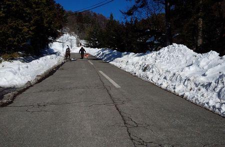 菱野温泉の道路の状況